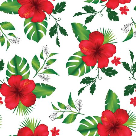 Seamless pattern tropical flower and leaves Stock Photo