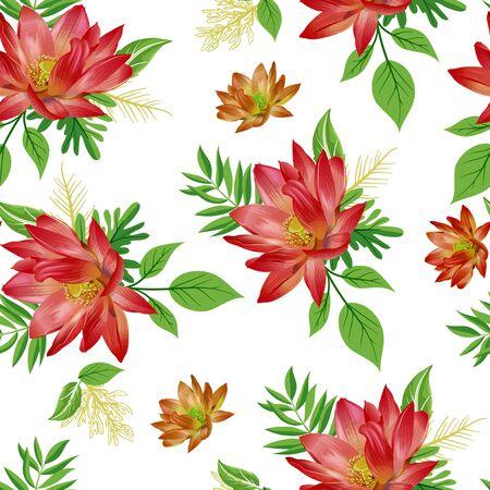 Motivo floreale e foglie senza soluzione di continuità