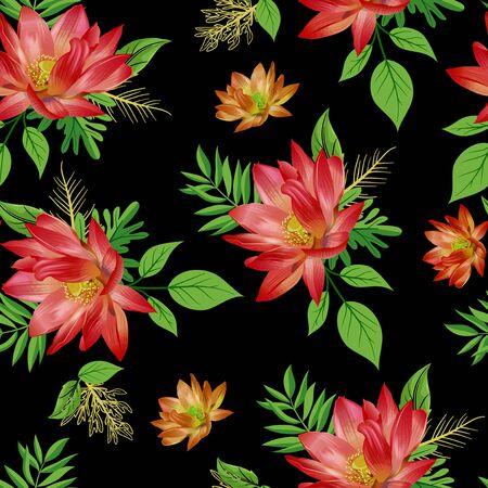nahtlose Blume mit Blättermuster