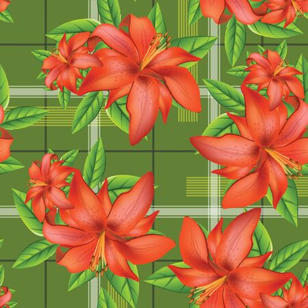 red lily seamless pattern