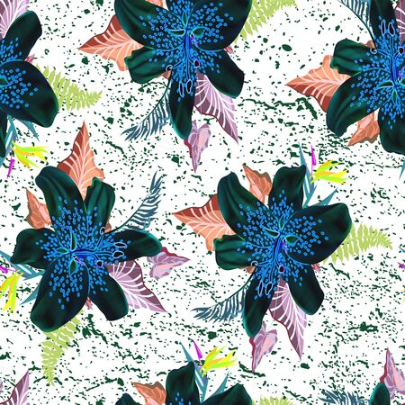 beautiful neon flower with leaf seamless pattern