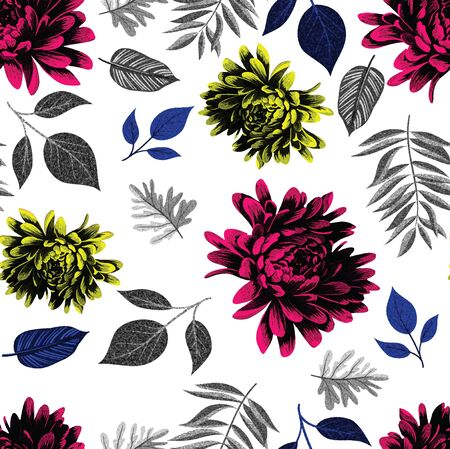 seamless pattern with hand drawn flowers seamless pattern with hand drawn flowers