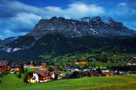 Eiger Peak and Grindelwald Village, Berner Oberland, Switzerland