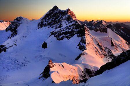 monch: Jungfrau Peak  4158m and Jungfraujoch Station  Switzerland  UNESCO Heritage