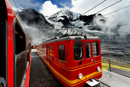 berner: Jungfrau Bahn in Eiger Glacier Railwaystation Berner Oberland Switzerland Stock Photo