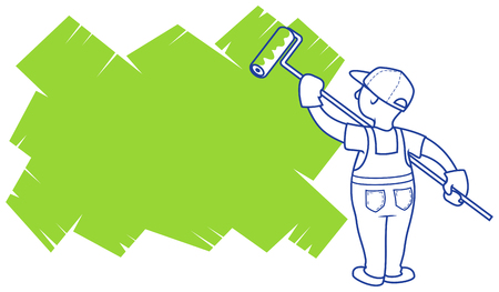 Vector illustration. The house painter paints area for a placeholder.