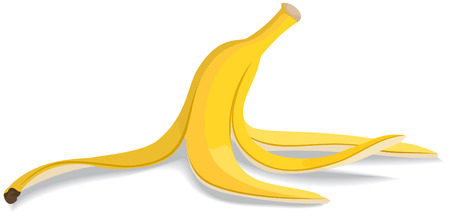 banana: Chuối lột vỏ trên nền trắng. Minh hoạ vector.