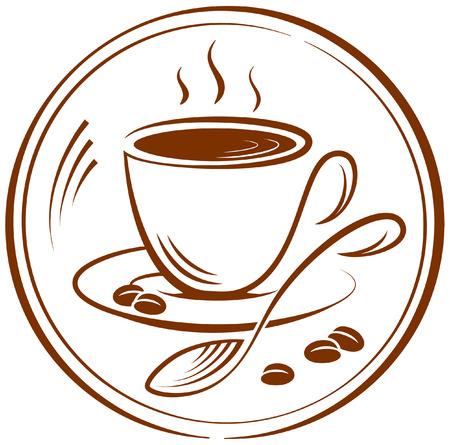 コーヒーのカップのイメージとピクトグラム。ベクトル イラスト。