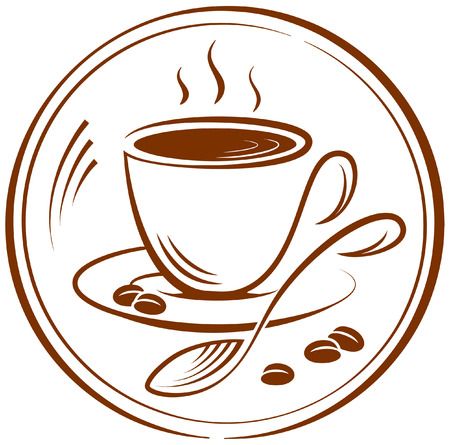 The pictogram with the image of a cup of coffee. Vector illustration.