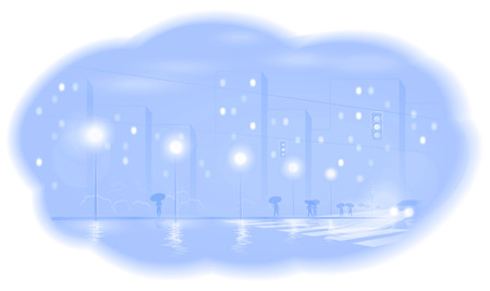 dampness: The image of night city  A vector illustration