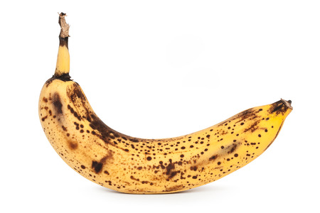 spoilage: The spoiled banana on a white background