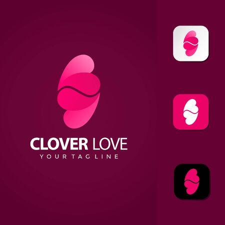 Clover Leaf Love Logo Design Vector Premium template Illustration