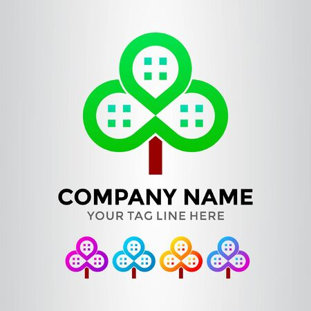Cloverleaf Pin Home Logo Template Illustration