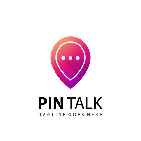 Awesome Gradient Pin Talk Modern Logo Design Template Vector