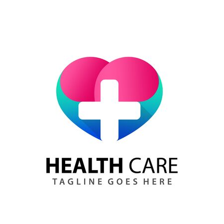 Gradient Love Health Care Plus Positiv Modern Logo Design Template Vector