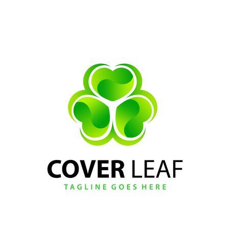 Awesome Gradient Love Cloverleaf  Modern Logo Design Template Vector