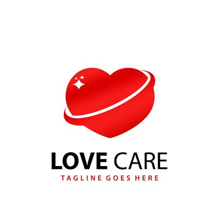 Awesome Gradient Love Care Medical Modern Logo Design Template Vector
