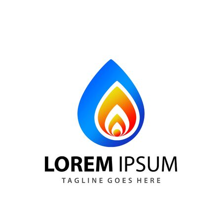 Abstract Water Drop Fire Logo Design Template Vector Premium