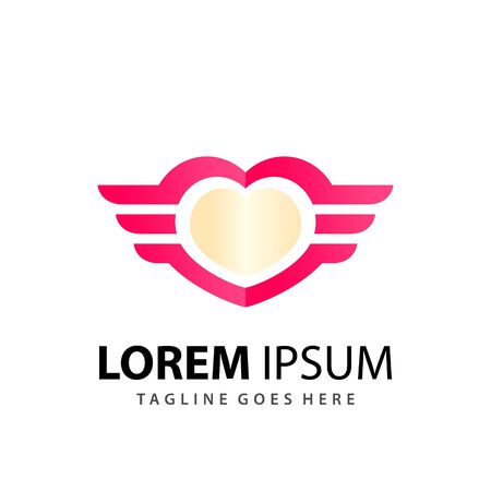 Abstract Loves Wings Logo Design Template Premium Vector