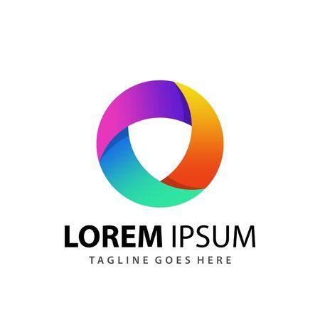Abstract Colorfull Negative Space Shield Logo Design Template Premium Vector Logo