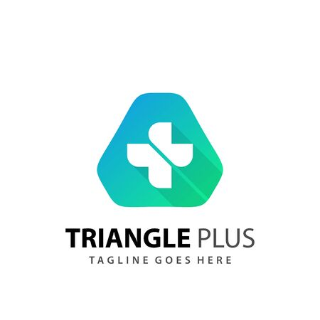 Abstract Triangle Plus Medical Icon Logo Design Vector Illustration Template Logó