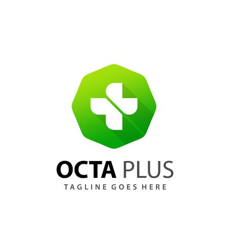 Abstract Octagon Plus Medical Icon Logo Design Vector Illustration Template Stock Illustratie