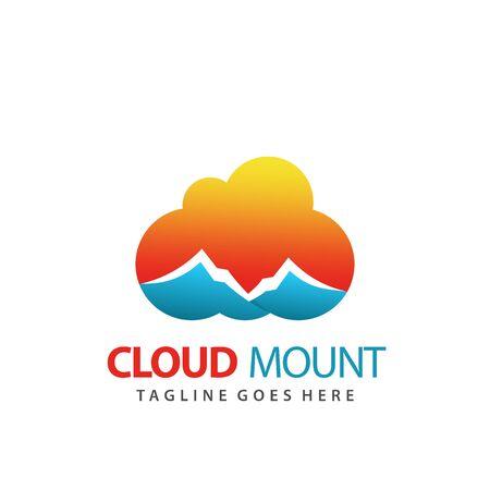 Abstract Cloud Mountain Logo Design Premium Vector Illustration