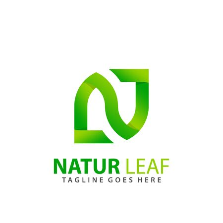 Letter N Natur Leaf Modern Logo Design Vector Illustration