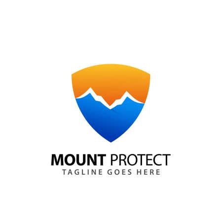 Abstract Shild Mountain Protection Company Logos Design Vector Illustration Template Stock Illustratie
