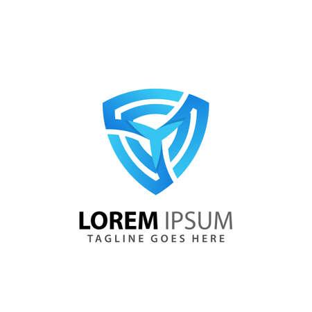Shield Spinning Emblem Logos Design Vector Illustration Template Premium