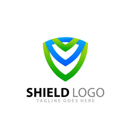 Abstract Gradient Shiled Emblem Logos Design Vector Illustration Template Stock Premium