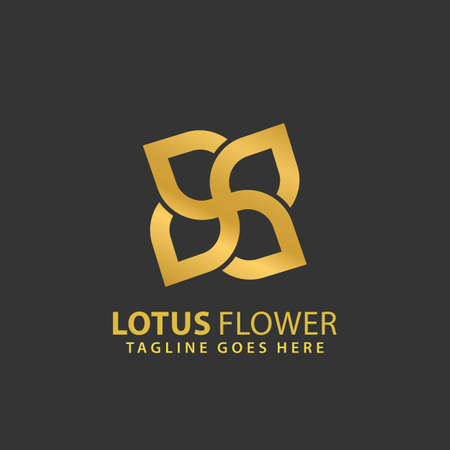 Awesome Lotus Flower Gold Logos Design Vector Illustration Template Stock Premium