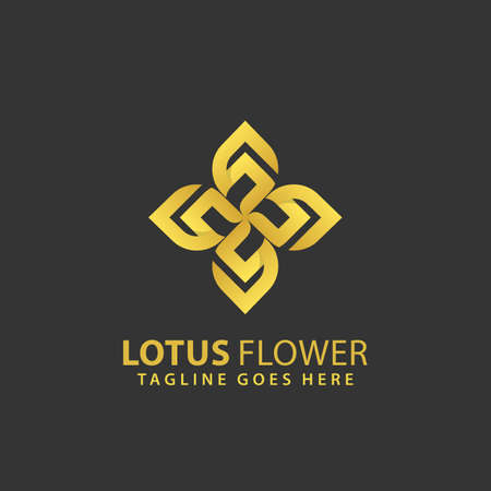 Abstract Lotus FlowerL Leaf Luxury Logos Design Vector Illustration Template Stock Premium