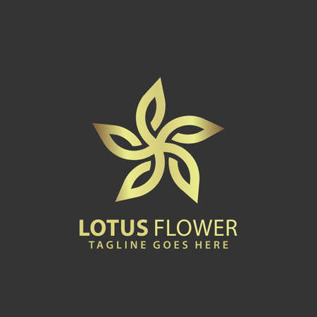 Abstract Lotus Flower Gold Logos Design Vector Illustration Template Stock Premium