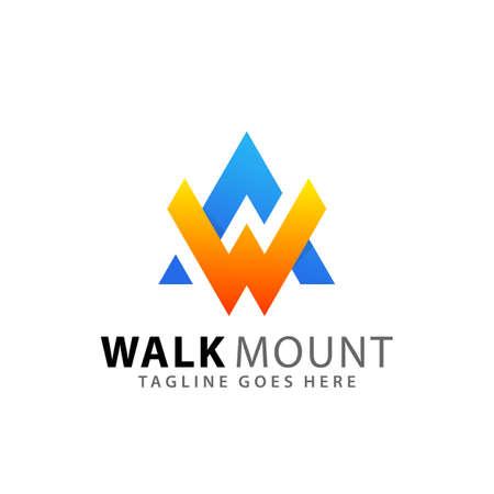 Letter W Mountain Adventure Modern Logos Design Vector Illustration Template Stock Premium