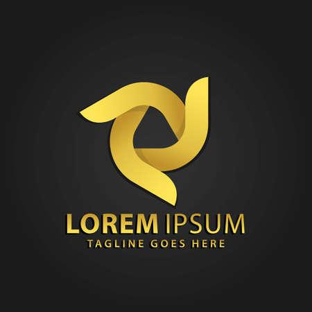 3D Golden Triangle Spinning Abstract Logos Design Vector Illustration