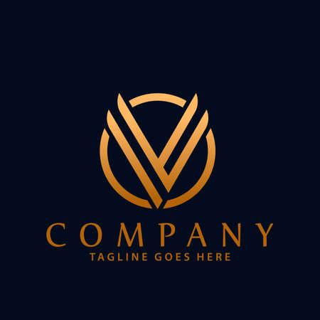 Abstract Circle Letter V Company Modern Logos Design Vector Illustration Template