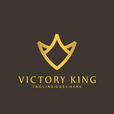 Vintage Victory King Shield Luxury Logos Design Vector Illustration Template