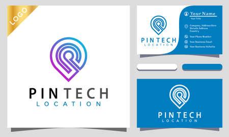 Pin Location Techno Logo Design Vector Illustration Template. modern logo design business card