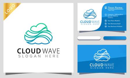 Cloud Wave colorful Logo Design Vector Illustration Template. modern logo design business card