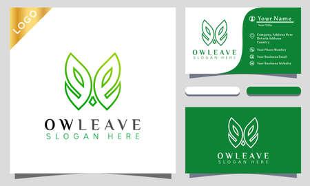 Owl Leaf Logo Design Vector Illustration Template. modern logo design business card