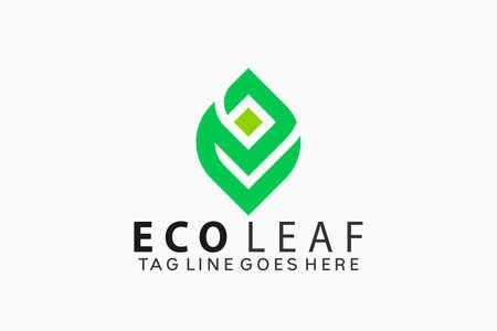 Letter E Eco Green Leaf Logo Design Vector Illustration