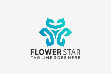 Beauty Flower Star Logo Design Vector Illustration Template