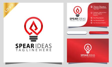 Bulb lamp Spear Ideas Colorful logo design inspiraton, business card