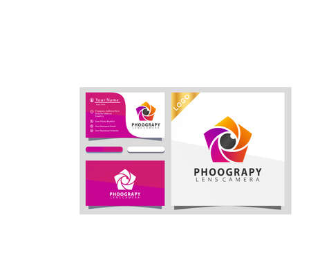 Camera lens phentagon photograpy colorful logo design vector illustration, business card