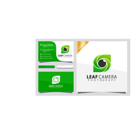 Leaf Camera photograpy colorful logo design vector illustration, business card
