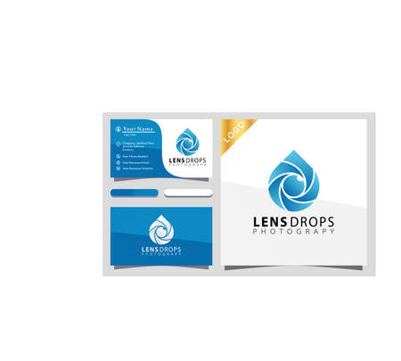 Camera shutter lens drop photograpy logo design vector illustration, business card 向量圖像