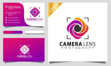 Camera lens photograpy colorful logo design vector illustration, business card