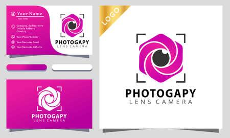 Hexagon shutter camera photograpy colorful logo design vector illustration, business card 向量圖像