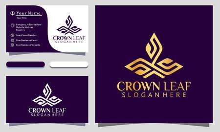 Golden King Crown Leaf Luxury logo design vector illustration, business card template